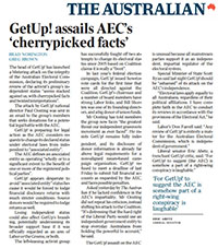 News clip – GetUp! assails AEC's 'cherrypicked facts' – The Australian